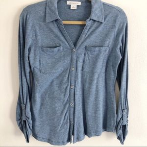 Liz Claiborne roll tab sleeve button front blouse.